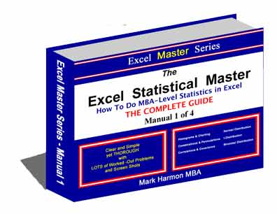 Excel Master Series - Description of All 4 eManuals - MBA-Level Topics Include histograms, combinations, permutations, correlation, covariance, normal distribution, t distribution, binomial, confidence interval, confidence intervals, hypothesis test, hypothesis tests, hypothesis test of mean, hypothesis test of proportionexcel graph, excel chart, poisson distribution, weibull distribution, chi-square distribution, hypergeometric distribution, beta distribution, gamma distribution, f distribution, multinomial distribution, probability density function, PDF, Cumulative Distribution Function, CDF